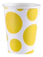 8 Süße Punkte Pappbecher gelb 266ml