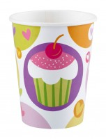 8 Cupcake Party Pappbecher 266ml