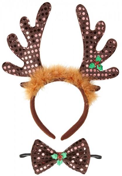 Conjunto de accesorios de disfraz de reno de 2 piezas