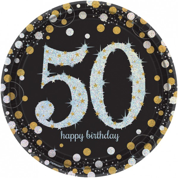 8 Golden 50th Birthday Pappteller 23cm