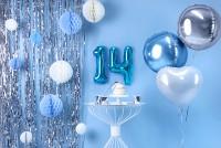 Zahl 4 Folienballon azurblau 35cm