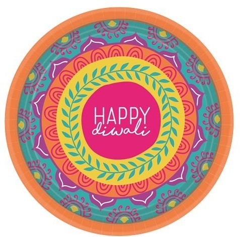 8 piatti di carta Happy Diwali 17,5 cm