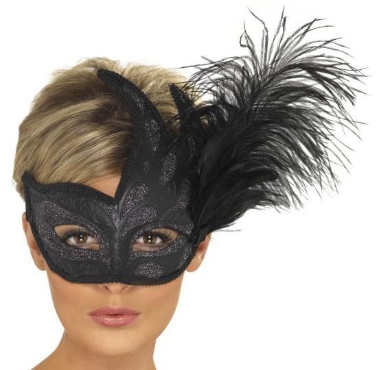 Schwarze Glitzer Augenmaske Mit Federn