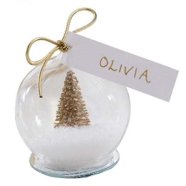 5 kartek świątecznych na choinkę śnieżna kula 6 cm