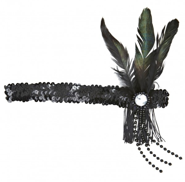 Schwarzes Charleston Pailletten Stirnband