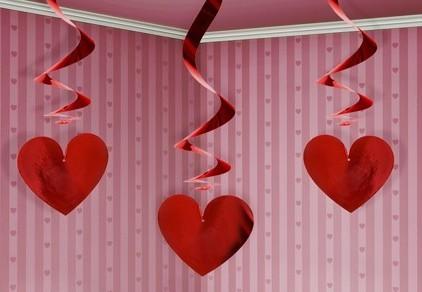 3 metallic heart spiral hangers 60cm
