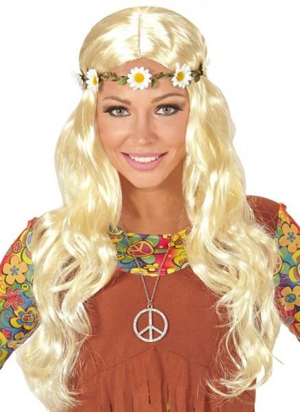 Parrucca bionda hippie con margherite