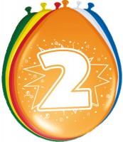 8 farbenfrohe Luftballons 2. Geburtstag 30cm