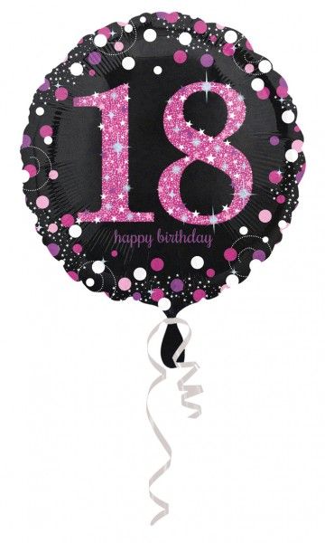 Pink 18th Birthday Folienballon 43cm