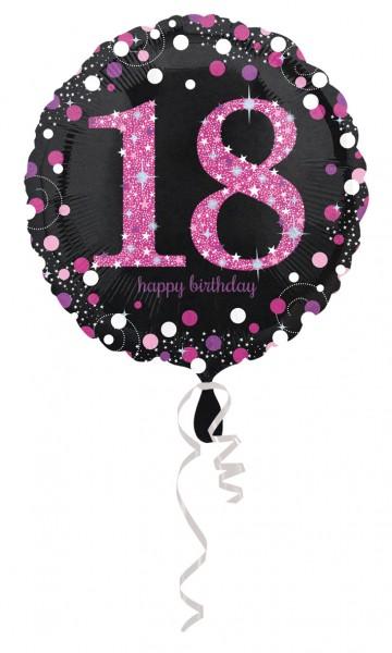 Różowy balon foliowy 18.urodziny 43cm