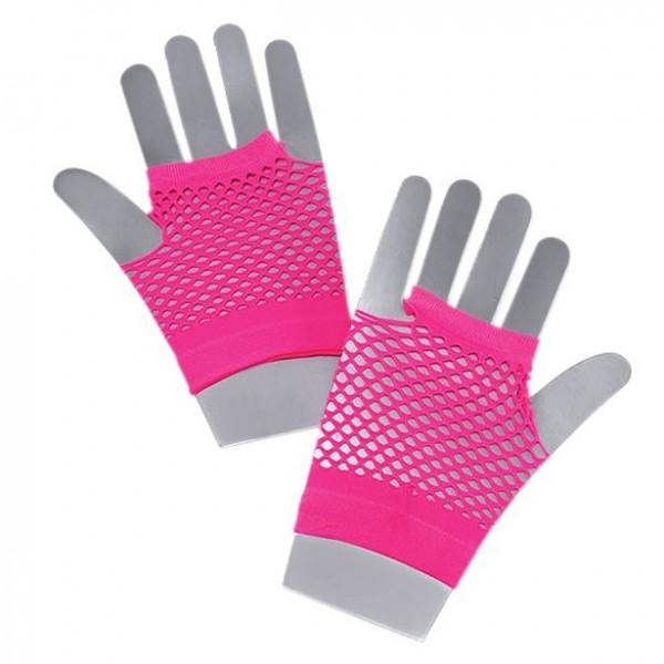 Kurze 80er Jahre Netzhandschuhe Pink