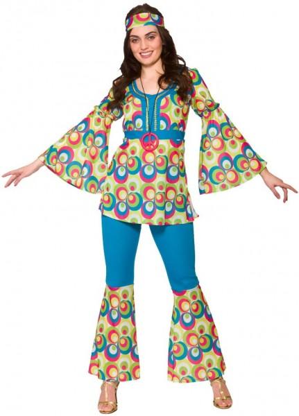 70er Jahre Flower Power Hippie Kostüm Blau 1