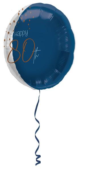 Globo de papel de 80 cumpleaños azul elegante