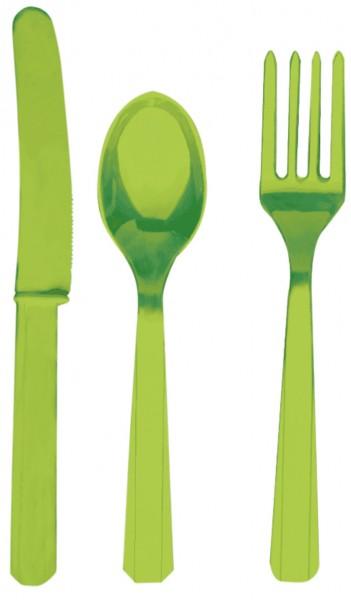 24 pcs. Party buffet cutlery set kiwi green