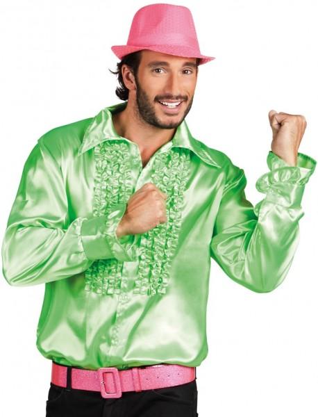 Grün Glänzendes Rüschenhemd Paolo