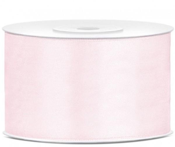 25m satin ribbon, powder pink, 38mm wide
