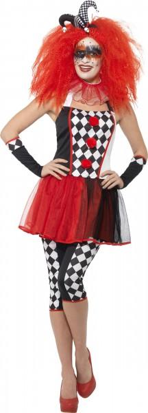 Harlequin dames kostuum rood wit