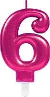 Happy 6th Birthday Kerze in Pink 7,5cm