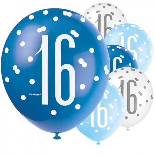 6 Blue Dots 16th Birthday balloons 30cm