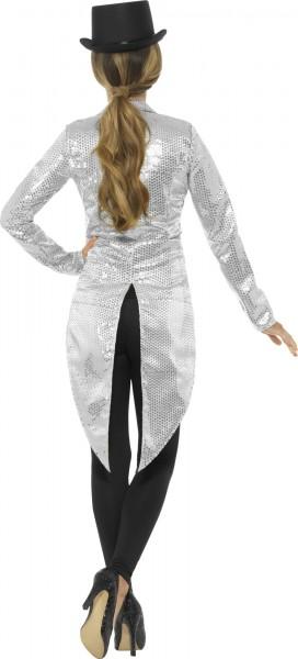 Glamour Pailletten Frack Für Damen Silber