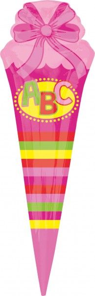 Pink school cone foil balloon 25 x 76cm