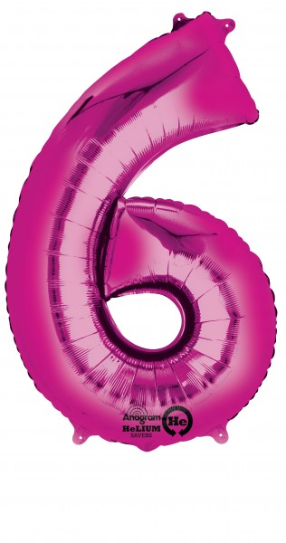 Number balloon 6 pink 88cm