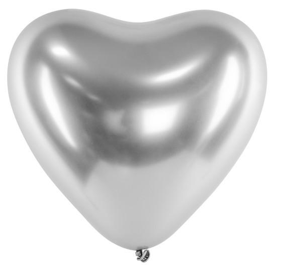 50 heart balloons love affair silver 27cm
