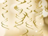 5 Gold metallic Spiralhänger 60cm