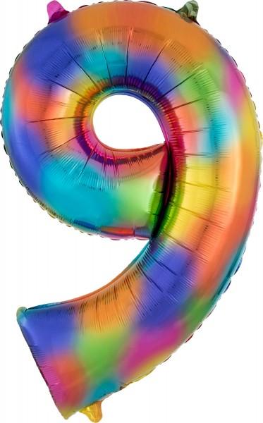 Regenbogen Zahl 9 Folienballon