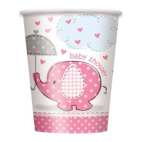 8 Elefanten Baby Party Pappbecher Rosa 266ml