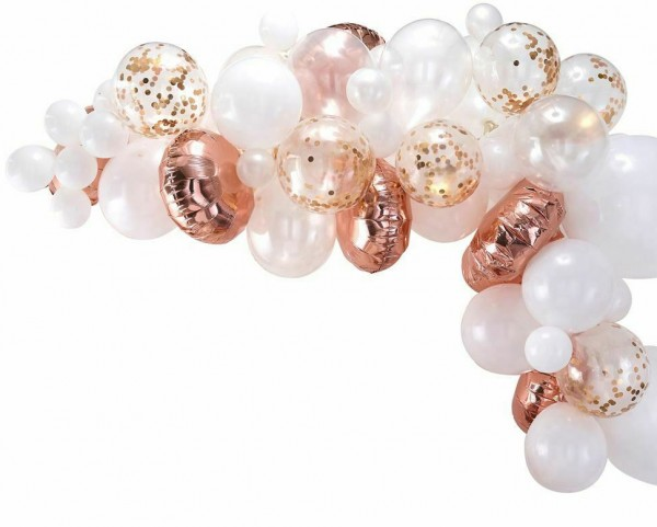 Arco de globos de oro rosa con 70 globos