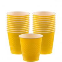 20 Gelbe Kunststoff Becher 266ml