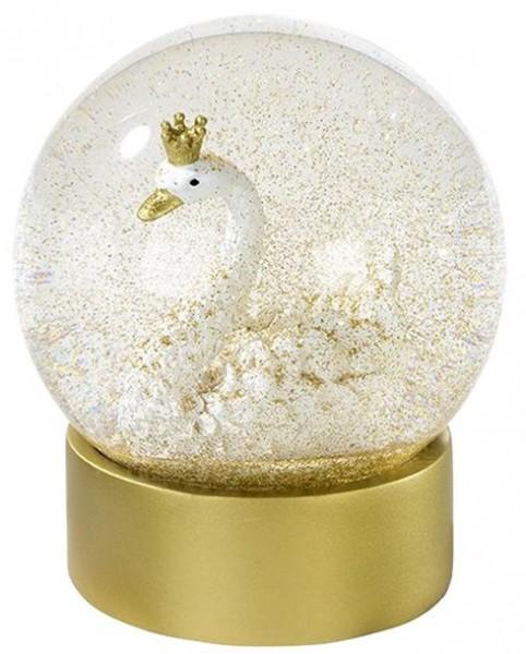 Goldene Schwanen Schneekugel 12cm