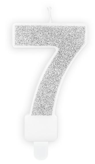 Świeca numer 7 srebrny połysk 7cm