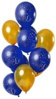 80.Geburtstag 12 Latexballons Elegant blau
