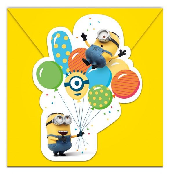 6 Minions Ballon Party Einladungskarten 9x14cm