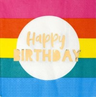 16 Rainbow Splash Birthday Servietten 33cm