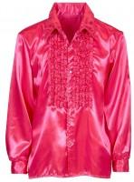 Pinkes Rüschenhemd Edel Glänzend