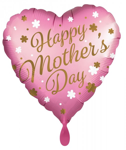 Ballon aluminium coeur Happy Mothers Day 45cm