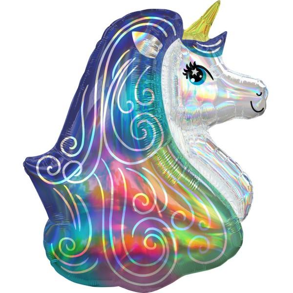 Shimmering rainbow unicorn balloon