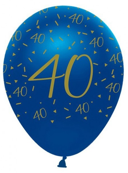 6 latex balloons 40th birthday blue 30cm