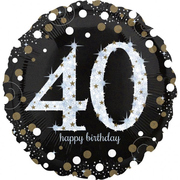 Golden 40th Birthday foil balloon 71cm