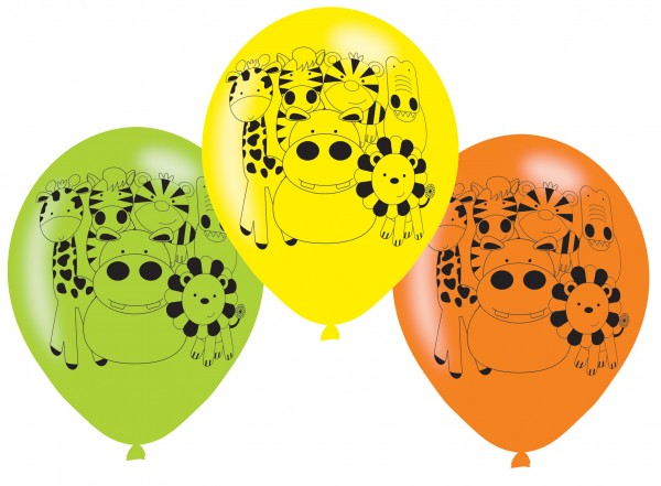 6 safari party balloons 23cm