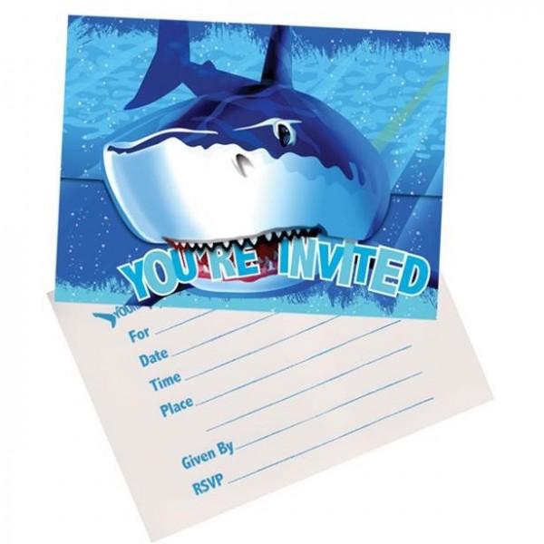 8 Haifisch Party Einladungskarten inkl. Umschläge