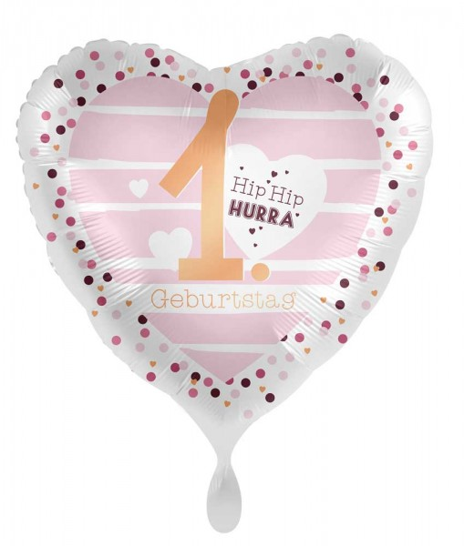 1. Geburtstag Herz Folienballon 45cm