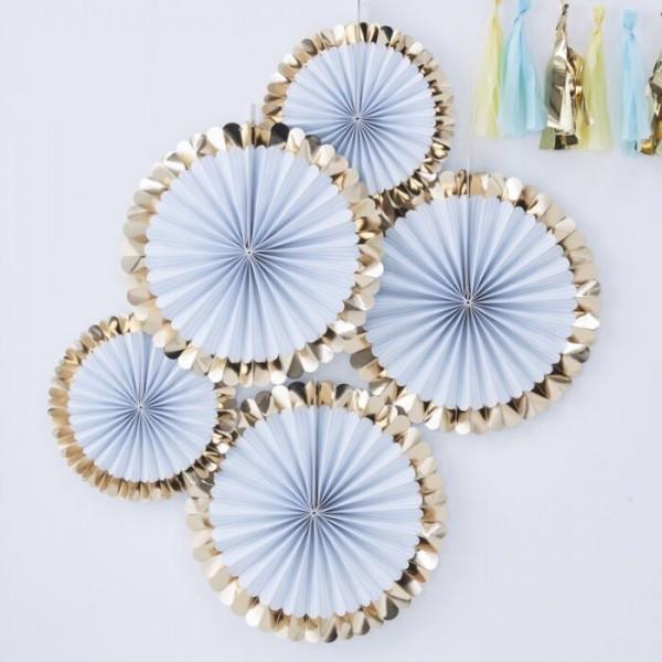 5 blue pastel paper fans with gold rim 38cm