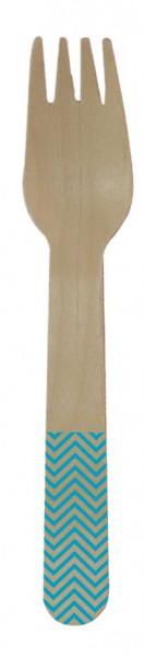 8 tenedores de madera Paganini turquesa