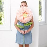 Riesige Kunstblume in Pfirsichfarben 110cm