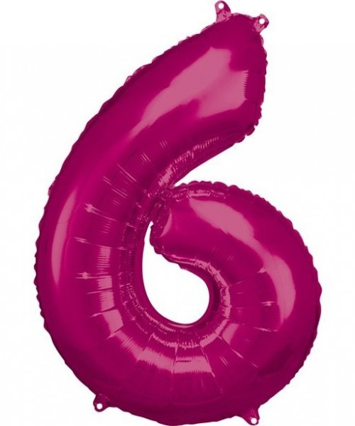 Number balloon 6 metallic pink 86cm