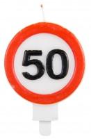 Verkehrsschild 50 Tortenkerze 6cm